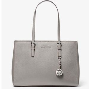 Michael Kors Saffiano Leather Jet Set Zip Silver